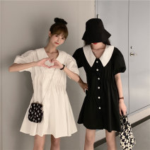 Dress Summer 2021 Light blue, white, black Average size Short skirt singleton  Short sleeve commute Doll Collar Loose waist Solid color Single breasted Big swing puff sleeve Others 18-24 years old Type A Korean version 30% and below other other