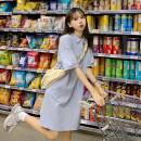 Dress Summer 2021 White, blue M,L,XL Middle-skirt singleton  Short sleeve commute Polo collar Loose waist Solid color Socket routine Others 18-24 years old Type H Korean version 30% and below