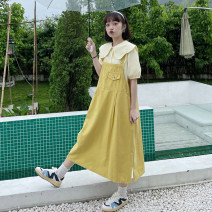 Dress Summer 2021 White shirt, yellow shirt, blue shirt, apricot strap skirt, yellow strap skirt, black strap skirt Average size Mid length dress singleton  Sleeveless commute Loose waist Solid color Socket A-line skirt straps 18-24 years old Type H Korean version 30% and below other other