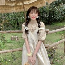Dress Summer 2021 Floral shirt, apricot suspender skirt Average size longuette Two piece set Sleeveless commute V-neck High waist Solid color Socket A-line skirt camisole 18-24 years old Type A Korean version 30% and below