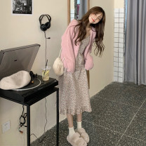 Dress Spring 2021 Pink sweater, green sweater, pink suspender skirt, green suspender skirt Average size longuette singleton  Sleeveless commute V-neck High waist Broken flowers Socket A-line skirt other camisole 18-24 years old Type A Korean version 30% and below other other