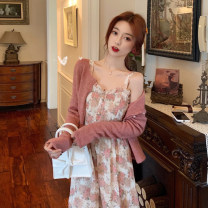 Dress Spring 2021 Flower dyed pink dress, Dousha red cardigan S. M, average size Mid length dress Two piece set Sleeveless commute other High waist Broken flowers A-line skirt other camisole 18-24 years old Type A Korean version 30% and below