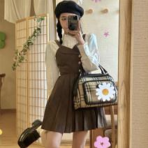 Dress Spring 2021 White shirt, plaid back skirt S. M, average size Short skirt singleton  Sleeveless commute V-neck High waist lattice Pleated skirt 18-24 years old Type A Korean version 30% and below