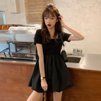Dress Summer 2021 White, black Average size Short skirt singleton  Short sleeve commute square neck High waist Solid color other routine Others 18-24 years old Type A Korean version 30% and below