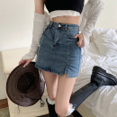 skirt Summer 2021 S,M,L,XL blue Short skirt commute High waist skirt Type A 18-24 years old 30% and below Korean version