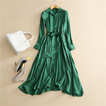 Dress Autumn 2020 green S,M,L,XL longuette singleton  Long sleeves commute Polo collar middle-waisted Solid color Single breasted Big swing routine Others Type A Simplicity Pocket, lace up, panel, button 71% (inclusive) - 80% (inclusive)