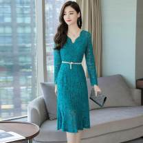 Dress Autumn of 2019 Black, red, peacock blue, purple M,L,XL,2XL longuette singleton  Long sleeves commute V-neck middle-waisted Solid color zipper Ruffle Skirt Others 25-29 years old Type H Korean version Gouhua hollowed out, bandage Lace