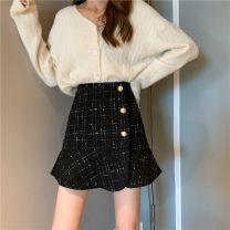 skirt Autumn 2020 XXS,XS,S,M,L Apricot, black Short skirt High waist 18-24 years old 31% (inclusive) - 50% (inclusive) polyester fiber