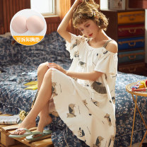 Nightdress Other / other M (pure cotton / comfortable / skin friendly), l (pure cotton fabric, no pilling and no fading), XL (free freight insurance), 2XL (zero risk shopping) Sweet camisole pajamas Middle-skirt summer Cartoon animation youth Crew neck cotton printing More than 95% pure cotton