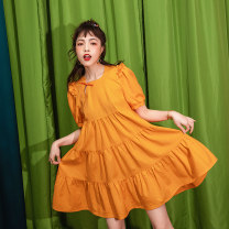 Dress Summer 2020 orange S M L Mid length dress singleton  Short sleeve commute Crew neck Loose waist Solid color A button A-line skirt puff sleeve Others 18-24 years old Type A Keiko / kellio Korean version Pucker fold Auricularia auricula asymmetric button K-20B95917 other cotton