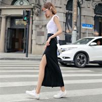 skirt Summer of 2019 XS,S,M,L black longuette Versatile High waist Pencil skirt Solid color Type H 91% (inclusive) - 95% (inclusive) other cotton