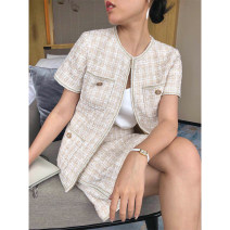Fashion suit Summer of 2019 S,M,L Light color Top + Half skirt, light color top, gold half skirt, if the event will increase the price, this price is the lowest price 81% (inclusive) - 90% (inclusive) polyester fiber