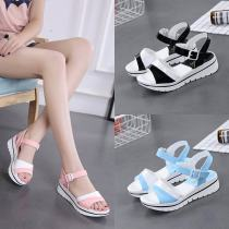 Sandals 35 36 37 38 39 40 Yellow 23 Blue Black Pink Other / other PU Barefoot Flat heel Low heel (1-3cm) Summer of 2018 Flat buckle Korean version Solid color Adhesive shoes Youth (18-40 years old) polyurethane daily Front and rear trip strap Low Gang Hollow PU PU Cool boots Shaving