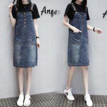 Women's large Summer 2021, autumn 2021 Denim skirt + Short Sleeve T-shirt, single denim skirt L [100 Jin / 120 Jin], XL [120 Jin / 140 Jin], XXL [140 Jin / 160 Jin], 3XL [160 Jin / 180 Jin], 4XL [180 Jin / 200 Jin] Dress Two piece set commute easy thin Socket Short sleeve Korean version Crew neck