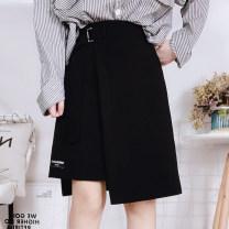 Women's large Autumn of 2019 black Large XL, large XXL, large XXL, large XXXXL, large L, M skirt commute moderate Korean version polyester fiber Kunxi Japanese button irregular skirt 18-24 years old 51% (inclusive) - 70% (inclusive) Middle-skirt Irregular skirt