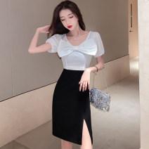 Dress Summer 2021 White and black S,M,L Short skirt singleton  Short sleeve commute High waist zipper bow . 91% (inclusive) - 95% (inclusive) other