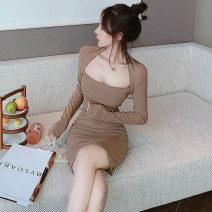 Dress Spring 2020 Black, brown S,M,L Short skirt singleton  Long sleeves commute square neck middle-waisted Solid color Socket Pencil skirt routine Breast wrapping 18-24 years old Type H Other / other Korean version . 51% (inclusive) - 70% (inclusive) other other