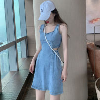 Dress Summer 2020 Graph color S,M,L Short skirt singleton  Sleeveless commute square neck High waist Solid color zipper A-line skirt Others 18-24 years old Type A Korean version Hollowing out .