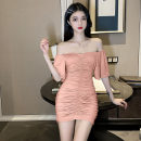 Dress Spring 2021 Apricot, black, pink S, M Short skirt singleton  Short sleeve commute One word collar High waist Solid color Socket Flying sleeve Breast wrapping Type H Korean version . 31% (inclusive) - 50% (inclusive) cotton