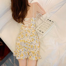 Dress Summer 2020 Yellow flowers on a white background S,M,L Short skirt singleton  Sleeveless commute V-neck middle-waisted Broken flowers other Ruffle Skirt camisole Type H Korean version Open back, lace up .