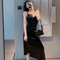 Dress Autumn of 2019 Blue, black Average size Mid length dress singleton  Sleeveless commute V-neck High waist Solid color Socket One pace skirt camisole 25-29 years old Type H Other / other Korean version 281# cotton