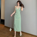 Dress Summer 2020 Bean green S,M,L Mid length dress singleton  Sleeveless commute V-neck High waist Dot zipper One pace skirt camisole 18-24 years old Type H Korean version Pleating