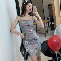 Dress Summer 2021 Gray blue S,M,L Short skirt singleton  Sleeveless commute High waist camisole Type H Korean version . polyester fiber