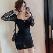 Dress Spring 2021 black S,M,L Short skirt singleton  Long sleeves commute High waist Solid color Socket Type H Lace . Lace polyester fiber