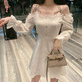 Dress Autumn 2020 White, black S,M,L Short skirt singleton  Long sleeves commute One word collar High waist Solid color zipper other bishop sleeve camisole Type A Korean version bow . 31% (inclusive) - 50% (inclusive) cotton