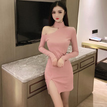 Dress Spring 2020 Apricot, pink, black S,M,L Short skirt singleton  Long sleeves commute middle-waisted Solid color Socket Pencil skirt routine Hanging neck style 18-24 years old Type H Other / other Korean version Hollowing out . 81% (inclusive) - 90% (inclusive) brocade