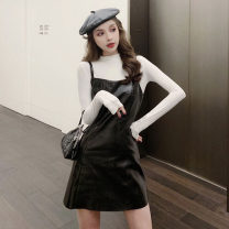 Fashion suit Spring 2021 S,M,L Ink blue jacket, white jacket, apricot leather skirt, black leather skirt . 51% (inclusive) - 70% (inclusive) cotton