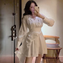 Dress Spring 2020 White, black, pink, bluish gray S,M,L Short skirt singleton  Long sleeves commute V-neck High waist Solid color zipper other shirt sleeve Others 18-24 years old Type A Other / other Korean version . 31% (inclusive) - 50% (inclusive)