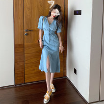 Dress Summer 2020 blue S,M,L Middle-skirt singleton  Short sleeve commute V-neck High waist Solid color other One pace skirt routine Others Type H Korean version . Denim cotton