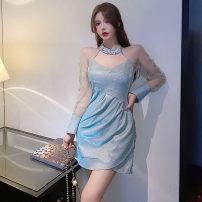 Dress Spring 2021 blue S,M,L Short skirt singleton  Long sleeves commute High waist Solid color Socket Irregular skirt camisole Type A . polyester fiber