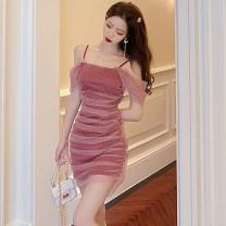 Dress Summer 2020 Apricot, black, pink S,M,L Short skirt singleton  Sleeveless Sweet One word collar High waist Solid color zipper other camisole Type H Gauze . princess
