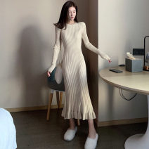 Dress Winter 2020 Apricot, black Average size Mid length dress singleton  Long sleeves commute Crew neck middle-waisted Solid color Socket Ruffle Skirt routine Others Type H Other / other Korean version Lotus leaf edge . 31% (inclusive) - 50% (inclusive) other