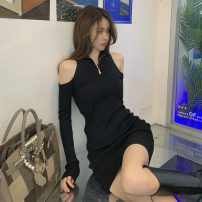 Dress Spring 2021 Zipper knitted skirt Average size Short skirt singleton  Long sleeves commute Solid color zipper Pencil skirt routine Type H Other / other Zipper, hollow out . More than 95% other