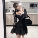 Dress Winter 2020 black S,M,L Short skirt singleton  Long sleeves commute square neck High waist Solid color Socket Ruffle Skirt 18-24 years old Retro Lace