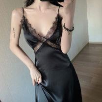 Dress Summer 2021 black S,M,L longuette singleton  Sleeveless commute V-neck High waist Solid color camisole Type A Lace . 31% (inclusive) - 50% (inclusive)
