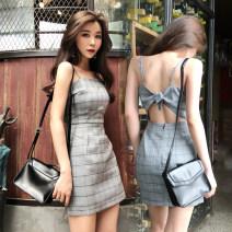 Dress Summer of 2018 grey S,M,L Short skirt singleton  Sleeveless commute One word collar High waist lattice zipper Pencil skirt camisole 18-24 years old Type H Korean version Open back, stitching, zipper