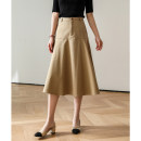 skirt Spring 2021 S,M,L Navy, khaki, light grey blue Mid length dress Versatile High waist A-line skirt Solid color Type A BQ1778-0403-HH-XF 31% (inclusive) - 50% (inclusive) other Magpie past cotton