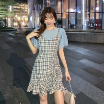 Dress Summer 2021 Picture set S,M,L,XL Mid length dress Two piece set Short sleeve commute Crew neck High waist lattice Socket Ruffle Skirt puff sleeve camisole 18-24 years old Type A Korean version Splicing, bandage 91% (inclusive) - 95% (inclusive) other other