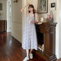 Dress Summer 2021 S,M,L,XL longuette Two piece set Short sleeve commute Crew neck High waist Broken flowers Socket A-line skirt puff sleeve camisole 18-24 years old Type A Korean version Button, print More than 95% other other