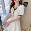 Dress Summer 2021 Apricot S,M,L,XL Mid length dress singleton  Short sleeve commute V-neck High waist Solid color Socket A-line skirt routine Others 25-29 years old Type A Korean version Pleats, folds, tridimensional decoration, buttons, lace More than 95% Chiffon