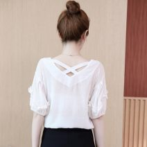 Lace / Chiffon Summer 2021 White, purple, red, green S,M,L,XL,2XL,3XL Short sleeve commute Socket singleton  easy Regular V-neck Solid color puff sleeve 30-34 years old Three dimensional decoration Korean version 96% and above