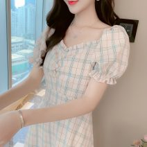 Dress Summer 2021 Yellow, pink S,M,L,XL Mid length dress singleton  Short sleeve commute square neck High waist lattice Socket A-line skirt puff sleeve Others 25-29 years old Type A Korean version More than 95%