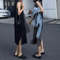 Dress Spring 2021 Dark grey, black Average size Mid length dress singleton  Sleeveless commute Half high collar Others Type H Other / other Korean version other