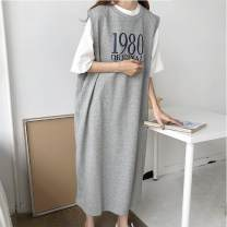Dress Summer of 2019 S. M, l, XL, one size fits all longuette singleton  Sleeveless commute Crew neck Loose waist letter Socket other other Others 18-24 years old Type H Other / other Korean version More than 95% cotton