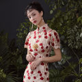 cheongsam Summer of 2019 XS spot, s-spot, m-pre-sale, l-spot, XL spot, l-pre-sale, s-pre-sale, XL pre-sale, m-spot, XS pre-sale Bright red Short sleeve Short cheongsam Retro Low slit daily Oblique lapel Decor 25-35 years old Piping QP19SS032 Mr. Jin other 96% and above
