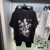 T-shirt Youth fashion black routine S,M,L,XL,2XL Peacebird Short sleeve Crew neck easy Other leisure summer B2DAB2194 youth routine tide 2021 Cartoon animation printing cotton Cartoon animation